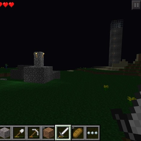 The Tower seen from Arboretum Outpost at night.  Note roving zombie on the left.